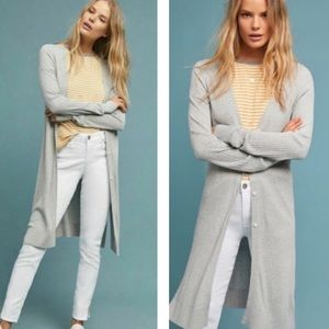 ANTHROPOLOGIE Meadow Rue Ribbed Gray Long Cardigan